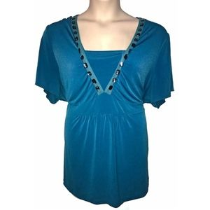 Lane Bryant Slinky Jeweled Teal Empire Tunic 3X